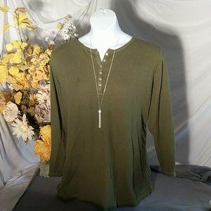 Green waffle knit tunic top